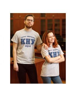 Сіра футболка з синім лого КНУ