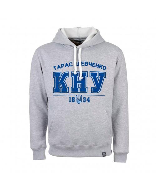 Сіре худі з синім лого КНУ