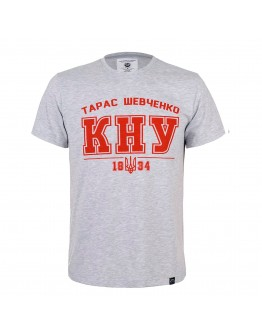 Сіра футболка з червоним лого КНУ