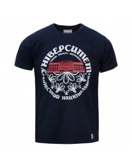 Темно-синя футболка з червоним корпусом